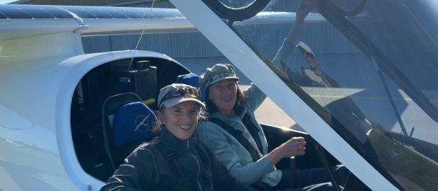First time ever two women together flying a solar powered airplane