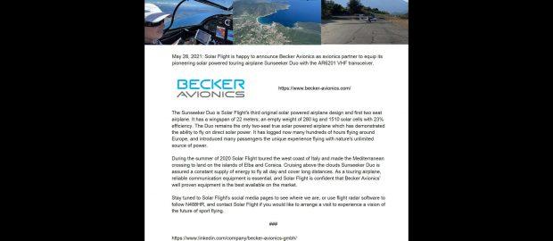 Read more about the article Becker Avionics as avionics partner